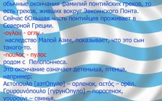 Греческие фамилии женские список